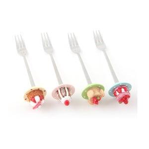 Sada 4 dezertních vidliček Sladké bábovičky