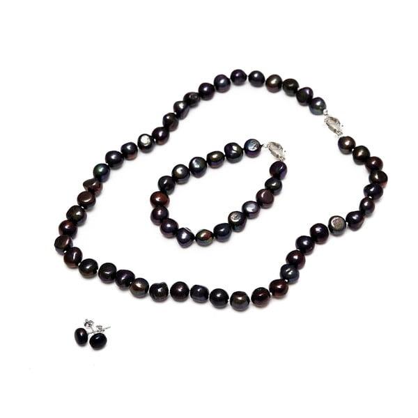 Sada náhrdelníku, náušnic a náramku z říčních perel GemSeller Sericea, černé perly