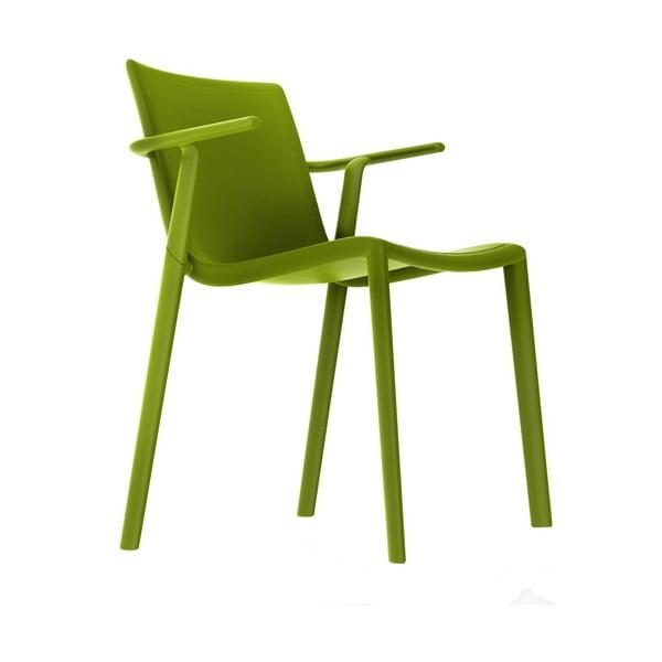 Sada 2 olivově zelených zahradních židlí s područkami Resol Kat