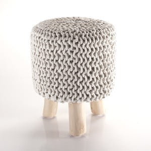 Puf tricotat Tomasucci Knit, crem