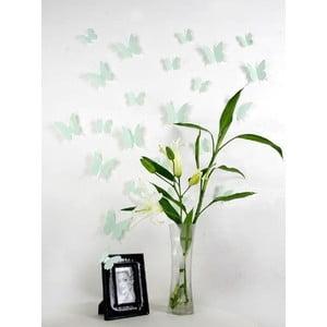 Sada 12 zelených 3D samolepek Ambiance Butterflies