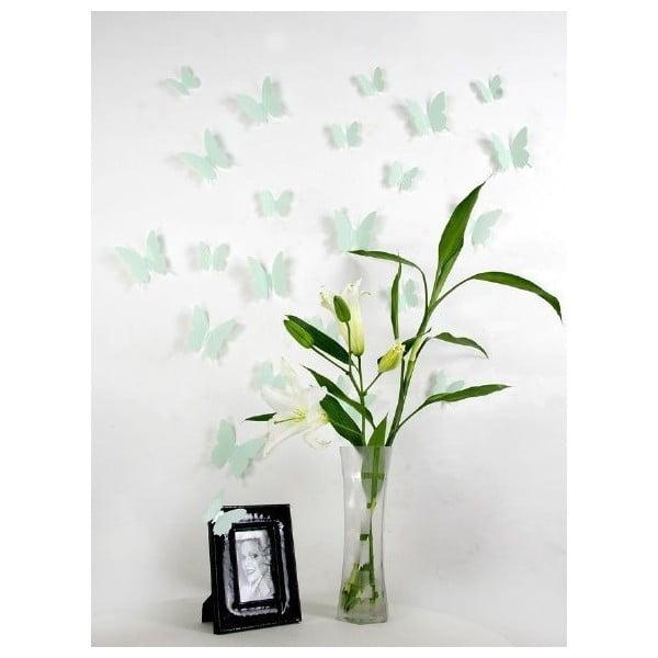 Zestaw 12 zielonych naklejek 3D Ambiance Mint Butterflies