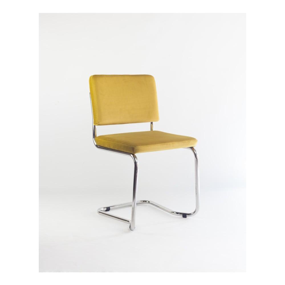 Židle se žlutým sametovým potahem Velvet Atelier Bertha