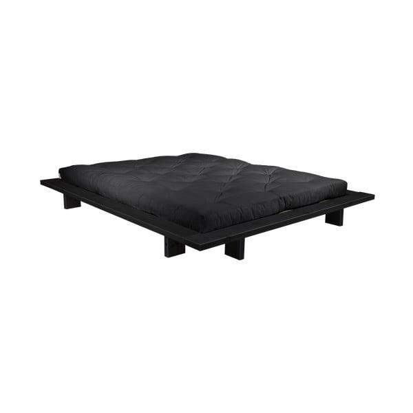 Pat dublu din lemn de pin cu saltea Karup Design Japan Comfort Mat Black/Black, 140 x 200 cm
