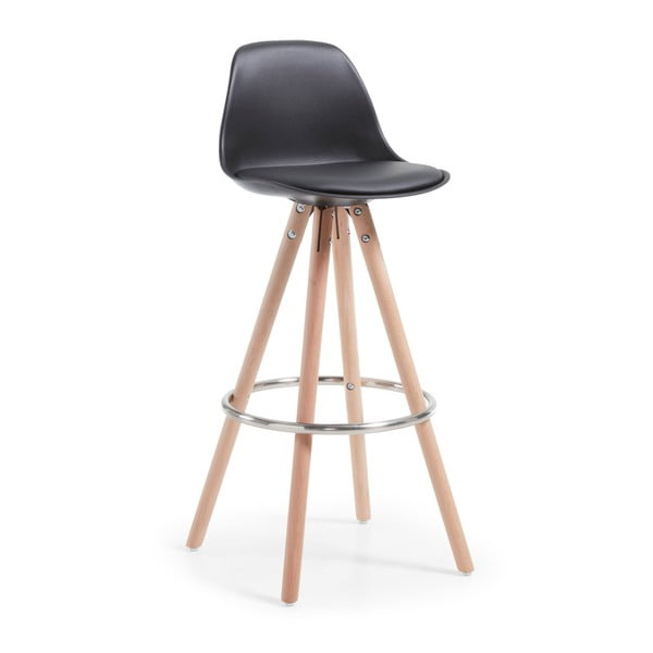 Černá barová židle s dřevěným podnožím La Forma Stag