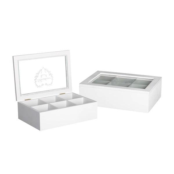 Krabička na čaj/šperkovnice White Box, 6 přihrádek