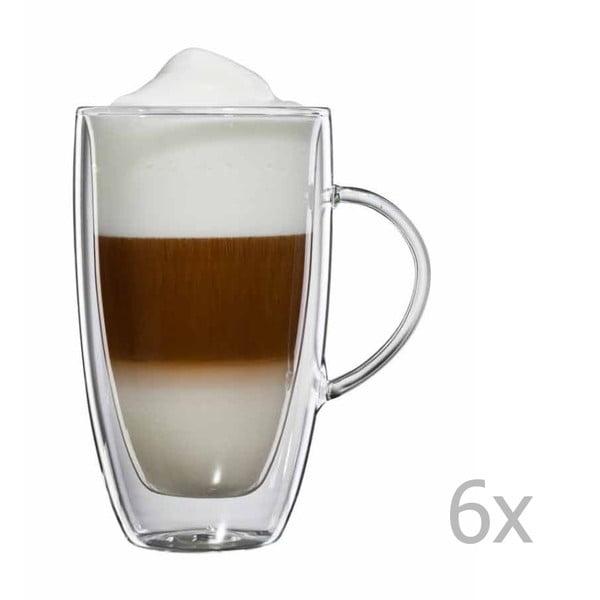 Sada 6 skleněných hrnků na latte macchiato s ouškem bloomix Verona