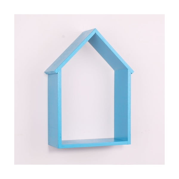 Raft de perete din lemn North Carolina Scandinavian Home Decors House, albastru