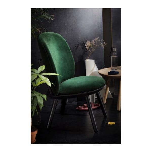 Tmavě zelené křeslo s konstrukcí z jasanového dřeva a koženými detaily EMKO Naïve