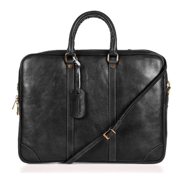 Černá kožená taška přes rameno Italia in Progress Donatello