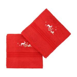 Sada 2 červených ručníků Corap, 50x90cm