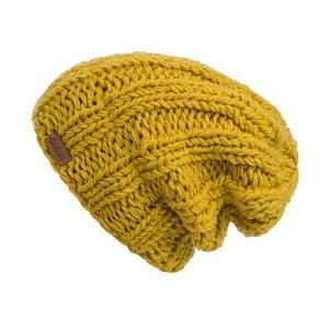 Hořčičně žlutá ručně pletená čepice DOKE Mina
