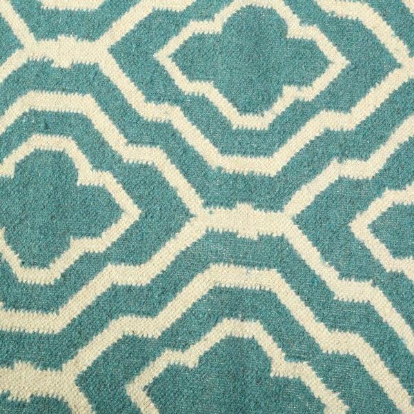 Vlněný koberec Geometry House Green & White, 160x230 cm