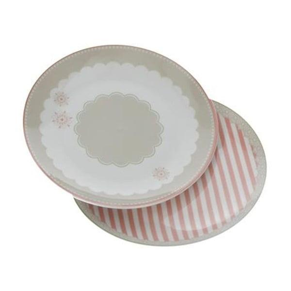 Zestaw 2 spodków z porcelany kostnej Brandani Peonia