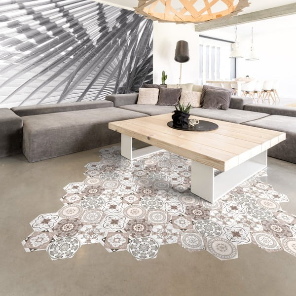 Sada 10 samolepek na podlahu Ambiance Floor Stickers Hexagons Cornalina, 40 x 90 cm