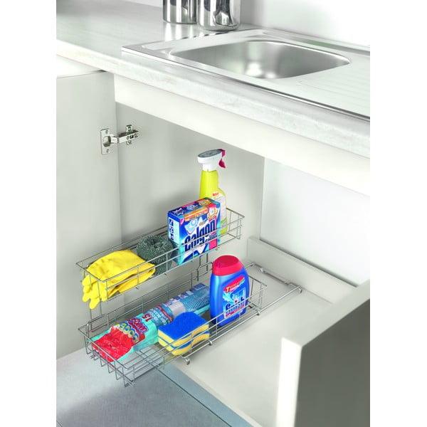 Suport cu două polițe pentru dulapul de bucătărie Metaltex Limpio