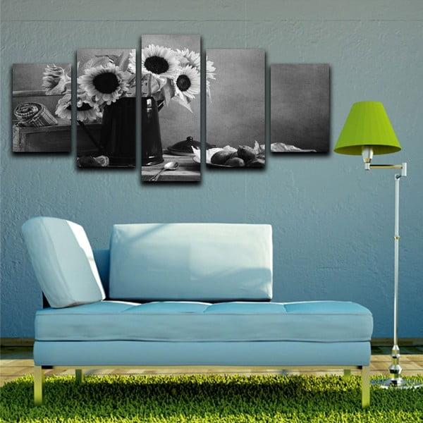 Vícedílný obraz Black&White Flowers