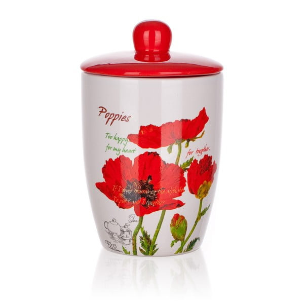 Keramická dóza s víčkem Banquet Red Poppy, 660 ml