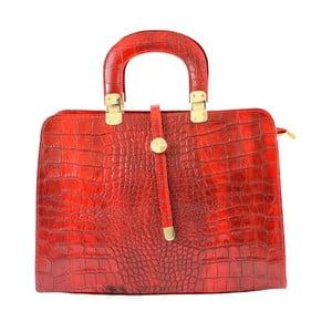 Červená kožená kabelka Chicca Borse Lady