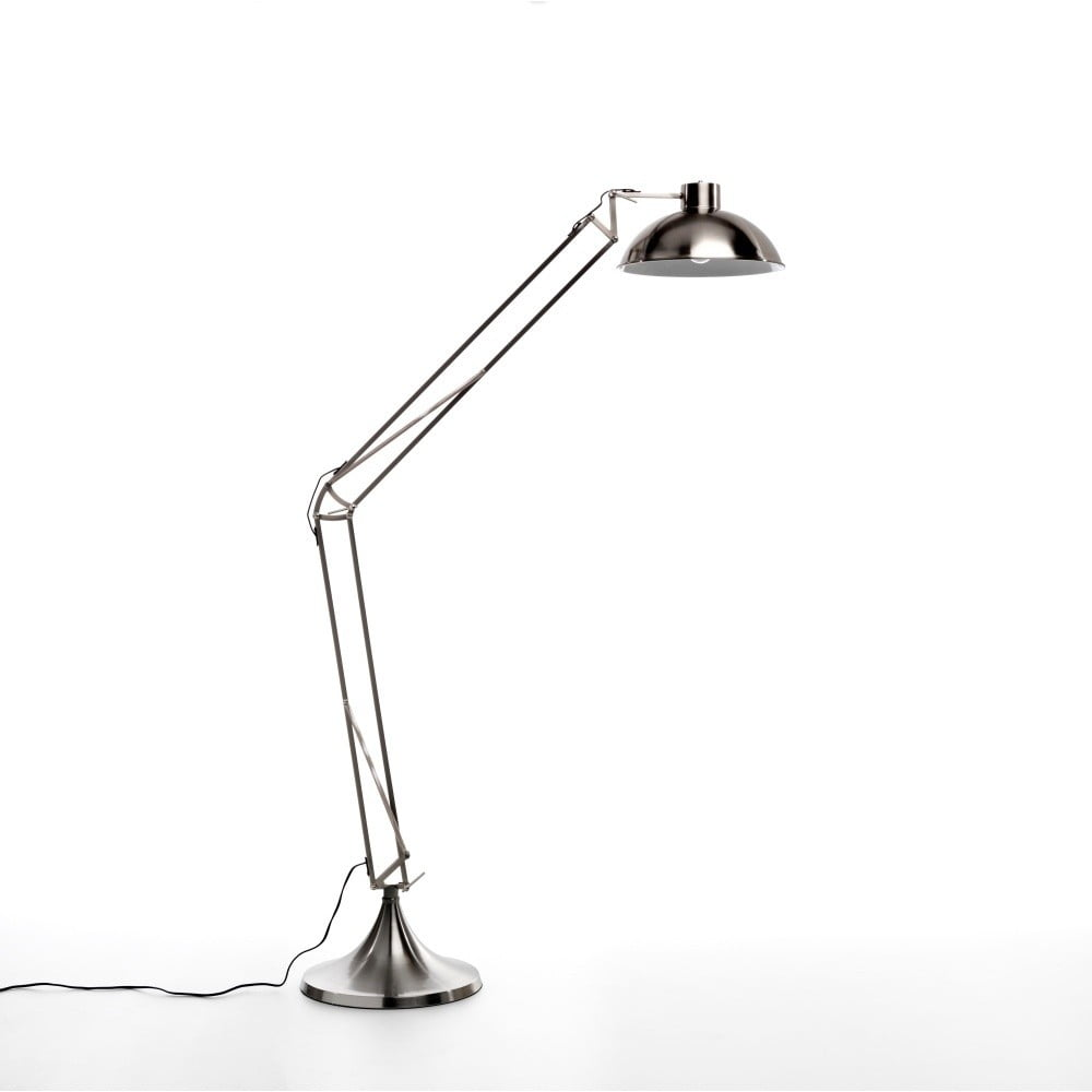 Stojací lampa ve stříbrné barvě Design Twist Isparta Nickel