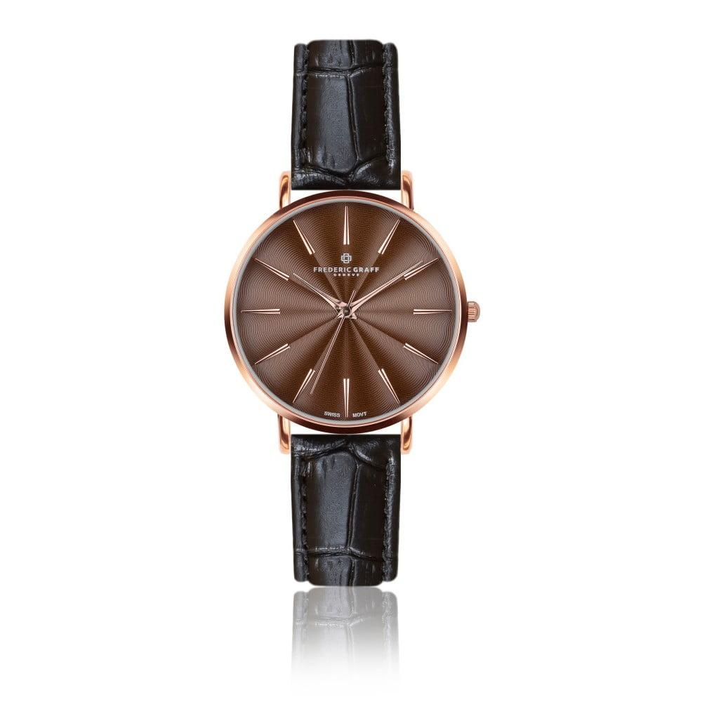 Dámské hodinky s černým páskem z pravé kůže Frederic Graff Rose Monte Rosa Croco Black Leather