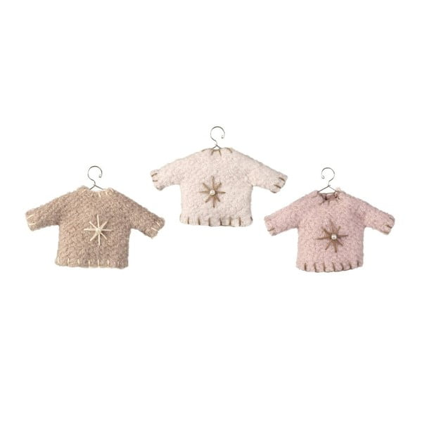 Sada 3 závěsných dekorací Sweater Pink