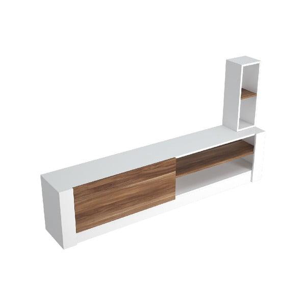Bílý TV stolek s hnědými detaily Gomez