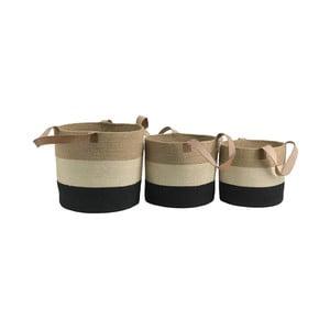 Sada 3 úložných košíků z juty Moycor Tricolor Basket