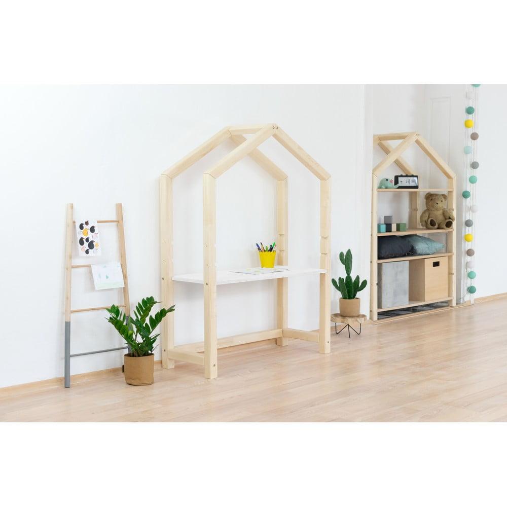 Bílý dřevěný stůl ve tvaru domečku Benlemi Stolly, 97 x 39 x 133 cm