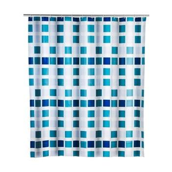 Perdea duș Wenko Mosaic, 180x200cm, albastru imagine