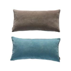 Modro-šedý oboustranný bavlněný polštář OYOY Lia