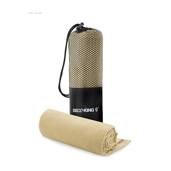 Szybkoschnący komplet beżowego ręcznika i ręcznika kąpielowego DecoKing EKEA, 70x140 cm + 30x50 cm