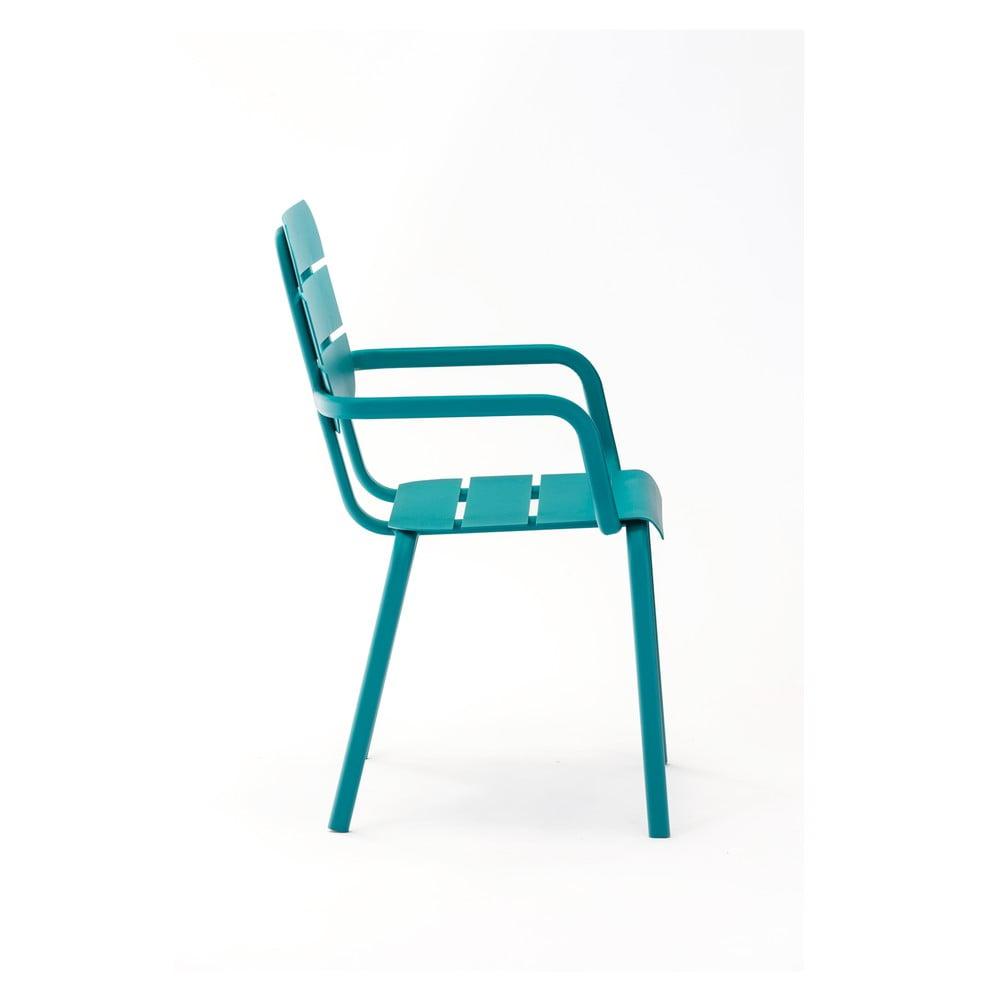 Sada 4 modrých zahradních židlí s područkami Ezeis Alicante