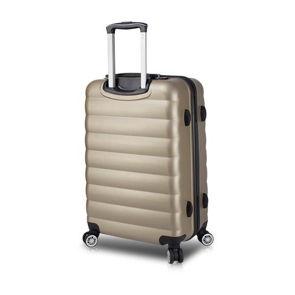 Cestovný kufor na kolieskach s USB portom v zlatej farbe My Valice COLORS RESSNO Medium Suitcase