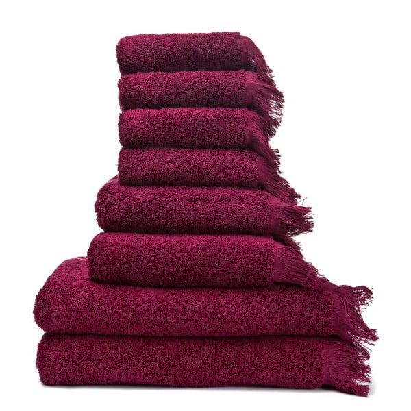 Set 4 červených osušek a 4 ručníků z čisté bavlny Casa Di Bassi