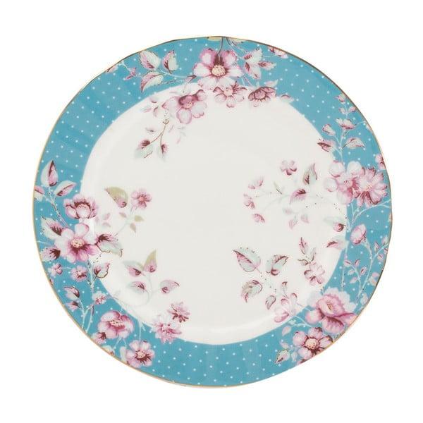 Niebiesko-biały porcelanowy talerzy deserowy Creative Tops Ditsy