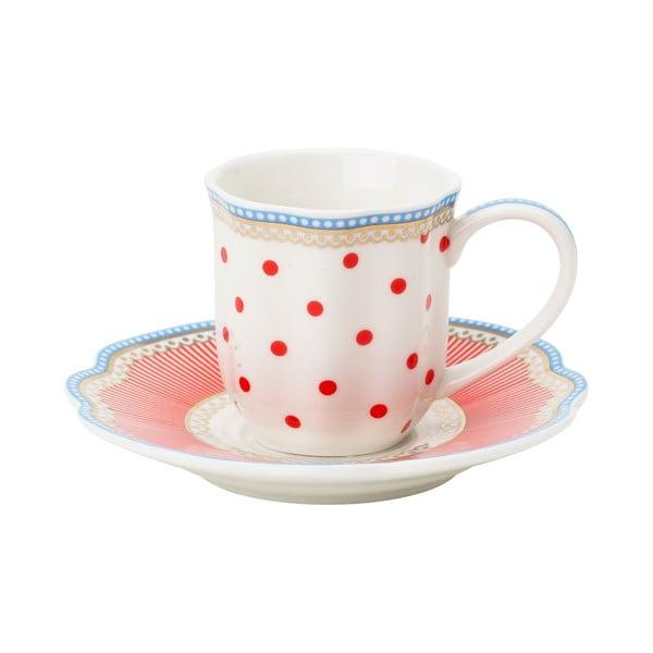 Porcelánový šálek na espresso s podšálkem Happy Dot od Lisbeth Dahl, 2 ks