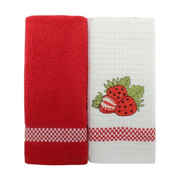 Zestaw 2 czerwono-białych ręczników z czystej bawełny, 45x70 cm