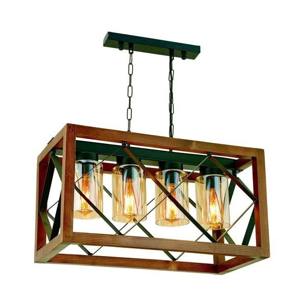 Lampa wisząca z drewna grabu Zikzak Camlı 4lü