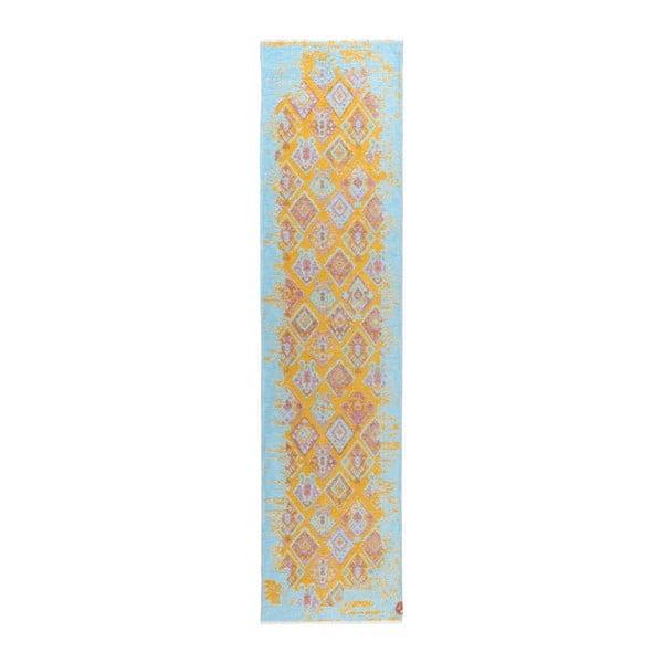 Covor cu 2 fețe Halimod Darina, 77 x 300 cm, galben-albastru