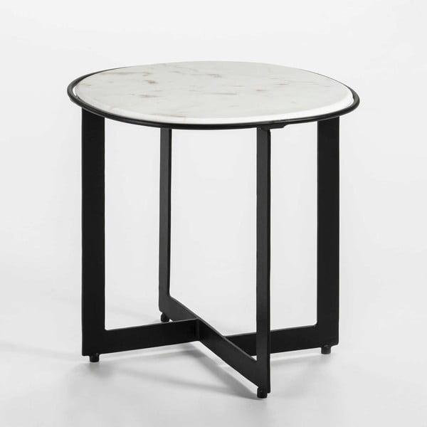 Odkládací stolek s mramorovou deskou a černými nohami Thai Natura, ∅46cm