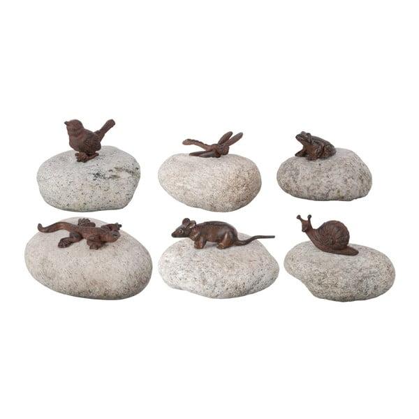 Sada 6 dekorativních kamenů s litinovými zvířátky EsschertDesign Garden