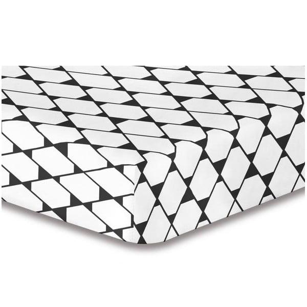 Cearșaf cu elastic, din microfibră DecoKing Rhombuses, 160 x 200 cm, alb-gri