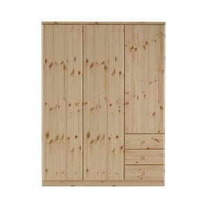 Hnědá šatní skříň z borovicového dřeva Steens Ribe, 202 x 150,5 cm