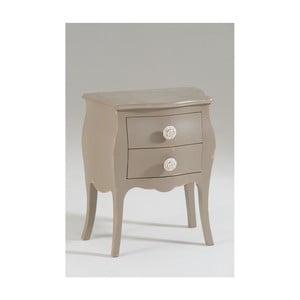 Béžový dřevěný noční stolek se 2 zásuvkami Castagnetti Isabeau