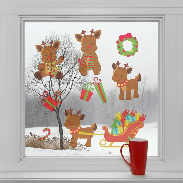 Elektrostatické vánoční samolepky Sobíci a dárky