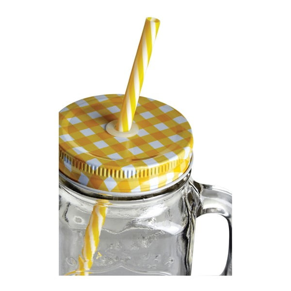 Sklenice s hořčicově žlutým víčkem a brčkem Premier Housewares,450ml
