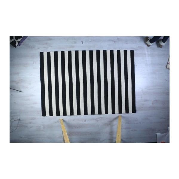 Vlněný koberec Geometry Stripes Black & White, 200x300 cm