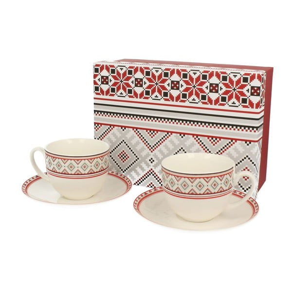 Set hrnků Red Ornaments s podšálkem, 2 ks