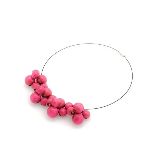 Ružový drevený náhrdelník ko–ra–leBubbles